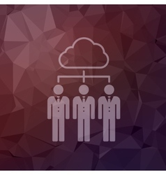 Three young man with cloud in flat style icon vector image