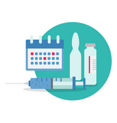 time to vaccinate concept syringes bottles of vector image