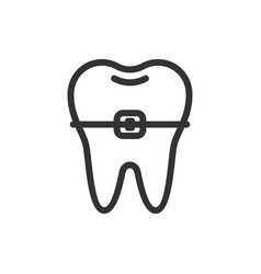 tooth with a brace cute icon vector image