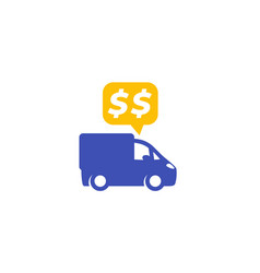 Transportation costs icon on white vector