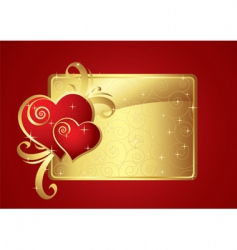 Valentine card gold v vector