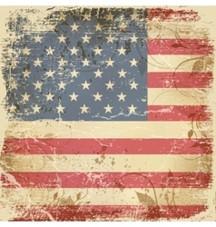 Vintage card with American flag vector