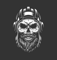 Vintage military skull in tankman helmet vector