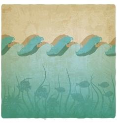 Vintage underwater background vector image