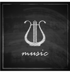 vintage with the harp on blackboard background vector image