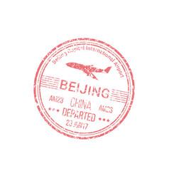 Visa stamp beijing airport isolated departed seal vector