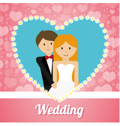 Wedding couple lovely invitation heart ornament vector