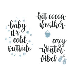 Winter inspirational calligraphy set vector