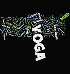 Yoga for the beginner text background word cloud vector