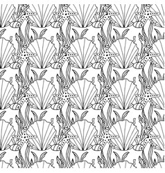 zentangle stylized seashell and other sea vector image