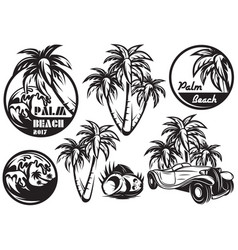 a set of monochrome templates with different palm vector image vector image