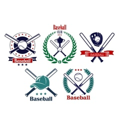 Baseball sporting heraldic emblems vector image