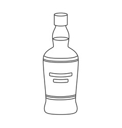 bottle of scottish whiskey icon in outline style vector image