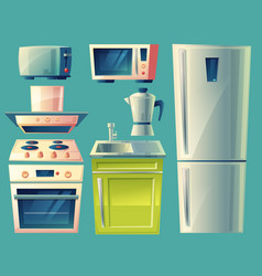 cartoon modern kitchen interior objects set vector image vector image