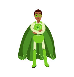 Ecological superhero man in green costume standing vector