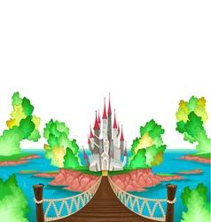 Fantasy landscape with castle white sky vector image