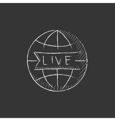 Globe with live sign Drawn in chalk icon vector image vector image