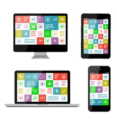 Isolated gadgets with ui and web elements vector