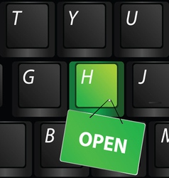keyboard with green open sign vector image