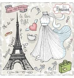 Paris setDressletteringfashionHand drawn vector image vector image