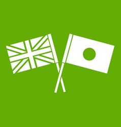 uk and japan flags crossed icon green vector image