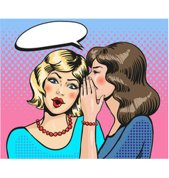 women whisper pop art comic vector image vector image