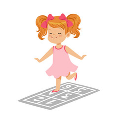 beautiful little girl in a pink dress playing vector image vector image