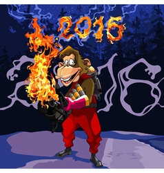 cartoon monkey with a flamethrower in 2016 vector image vector image