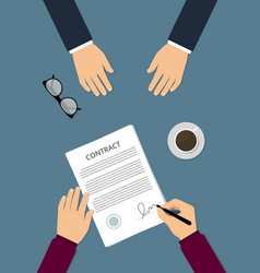 contract signing flat vector image