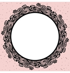 Lacy round frame vector image