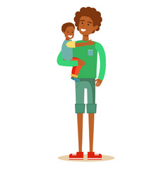 african american father holding his son vector image