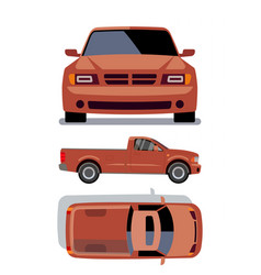 flat-style cars in different views orange vector image vector image