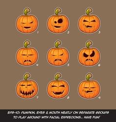 Jack O Lantern Cartoon 9 Vampire Expressions Set vector image