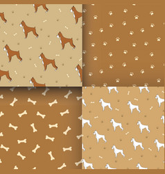 Set of seamless pattern with cute dog breed boxer vector