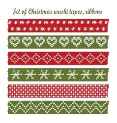Set of vintage christmas washi tapes ribbons vector image
