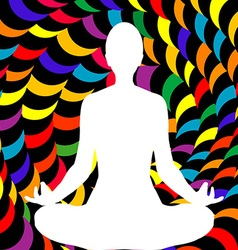 A male lotus position silhouette vector