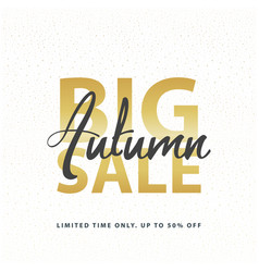 big autumn sale gold sign in white golden glitter vector image vector image