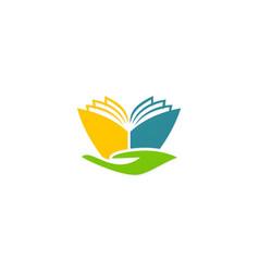 book abstract hand education logo vector image vector image