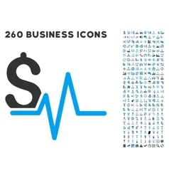 Financial Pulse Icon with Flat Set vector image vector image