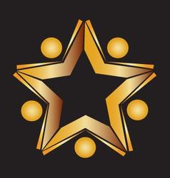Teamwork gold books logo vector image