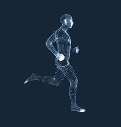 3d running man sport symbol low-poly man in motion vector image