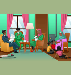 african muslim family at home vector image