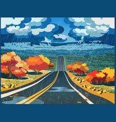 Autumn road through the valley vector