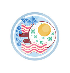 bacon and fried eggs on a plate vector image
