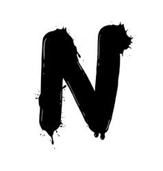 blot letter n black and white vector image