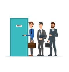 Business people standing in a line to the door of vector