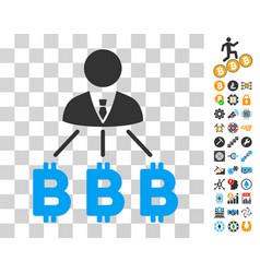 businessman bitcoin expences icon with bonus vector image
