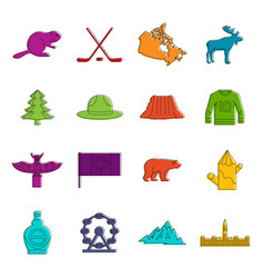 Canada travel icons doodle set vector