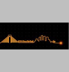 cancun light streak skyline vector image