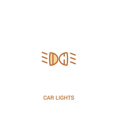 Car lights concept 2 colored icon simple line vector
